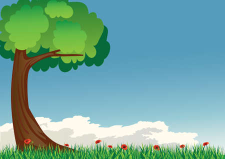 tree with grass and poppies Illustration
