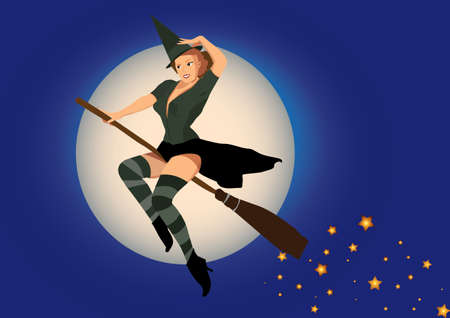 epiphany: sexy witch flying on broom