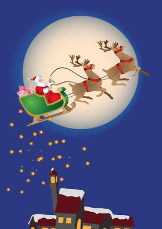 santa claus and sledge over night landscape Vector