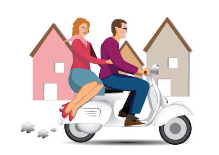 two wheel: vintage couple on scooter vespa Illustration