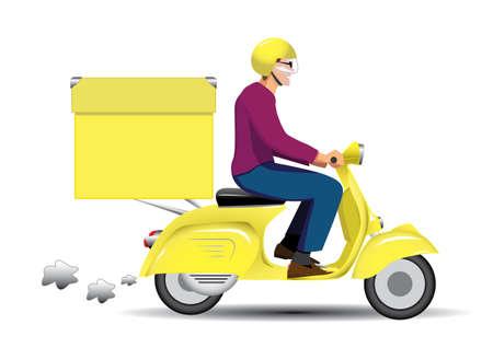 курьер: конному на желтом скутере Vespa