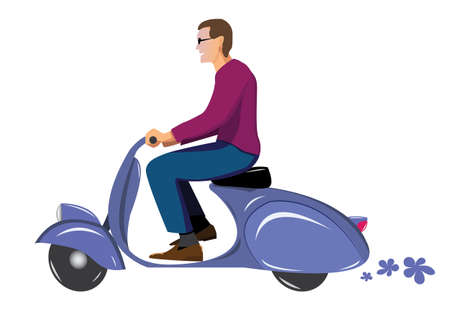 vespa: man on vintage scooter vespa blue Illustration