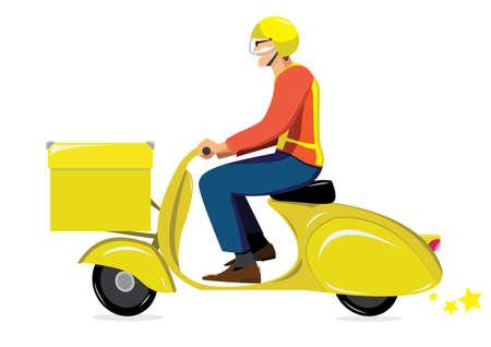 pony express on yellow scooter vespa Illustration