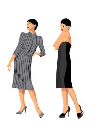 moda fashion dress and beautiful models Illustration