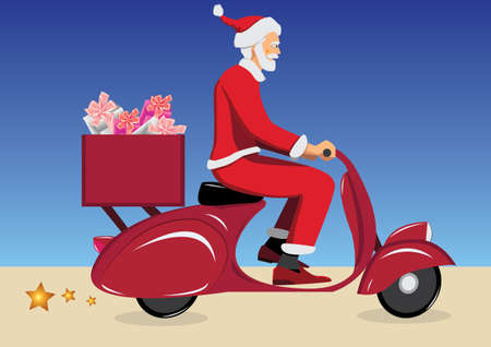 santa claus on vintage red scooter  Vector