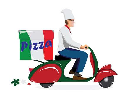 vespa piaggio: consegnare pizza su scooter d'epoca Vettoriali