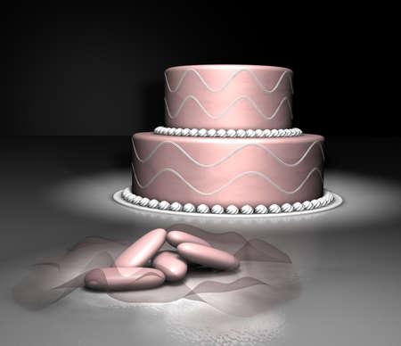 comfit: Pink cake and comfit  Stock Photo