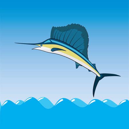 pez vela: navegar mar marina oc�ano pescados Vectores