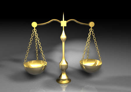 counterpoise: gold Balance for food diet and justice Stock Photo