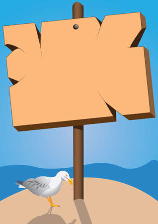 marine signboard and seagull bird Vector