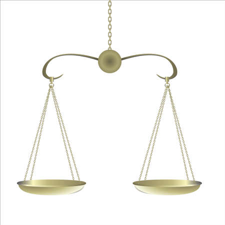 counterpoise: gold Balance for food diet and justice Illustration