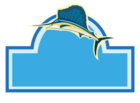 황새치: 물고기 빈 기호를 항해 일러스트