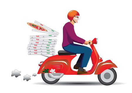Deliver pizza on vintage scooter Illustration