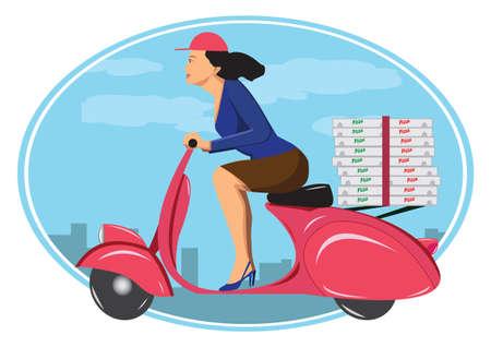 Deliver pizza on vintage scooter Illustration