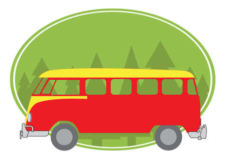 nomadic: colored van in the nature