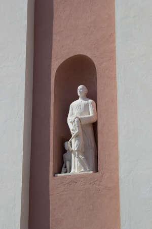pontine: detail of facade of santa candida church in ventotene