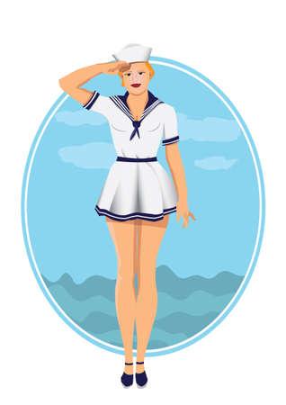 sexy Sailor make military salute Illustration