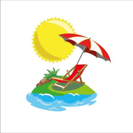 열 대 섬에 deckchairs 및 우산