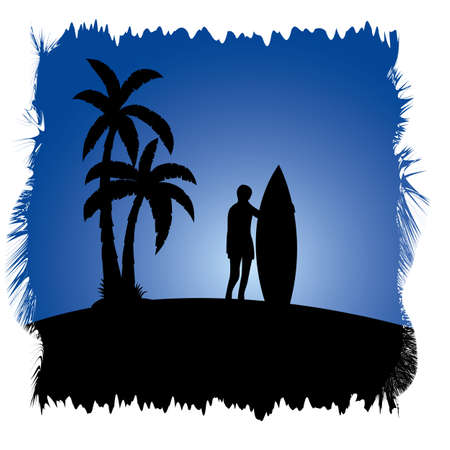 palmtrees: surfer in tropical island