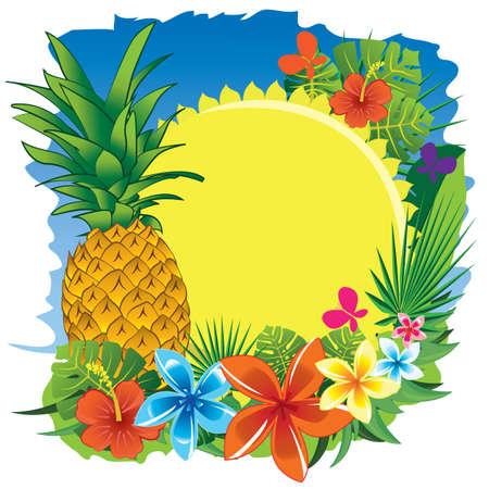pineapple sun and flowers
