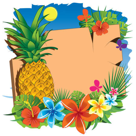 signboard: pineapple and signboard Illustration