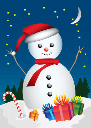 article of clothing: snowman and gift Illustration