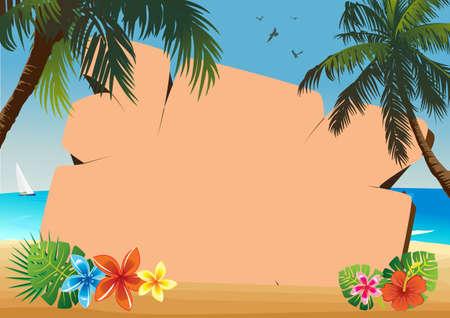 palmtree: signboard on the beach Illustration
