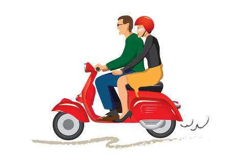couple back to back: couple on scooter