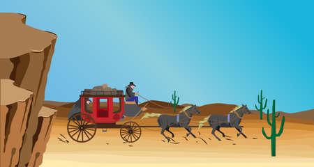 escena occidental con el carro de la diligencia