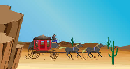 west indian: Western scene with stagecoach wagon