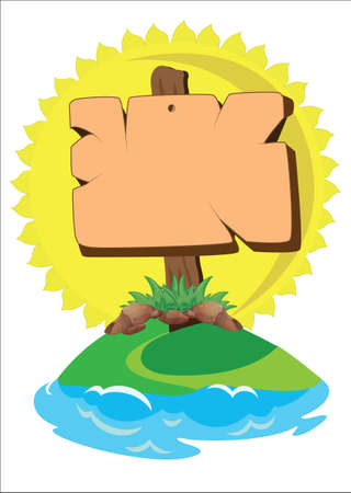 signboard: signboard on the island Illustration