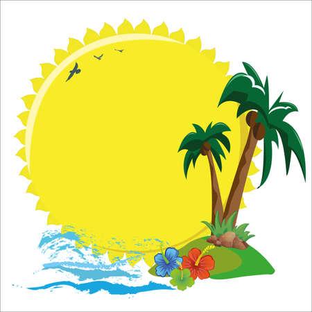 palmtrees: signboard on the island Illustration