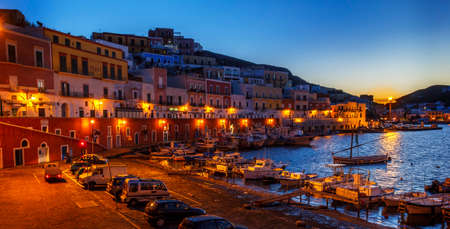 pontine: Ponza landscape view night scene Editorial
