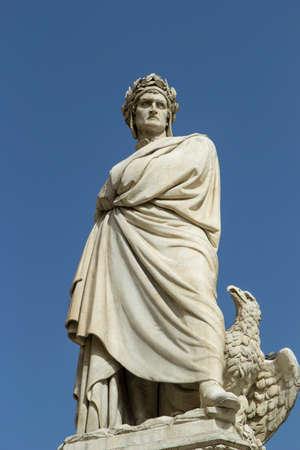 dante alighieri: statue of dante in square Holy Cross