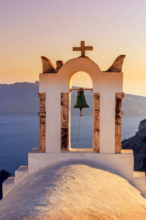 santorini greece: orthodox church bell santorini greece