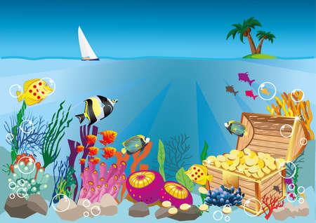 underwater life and treasure