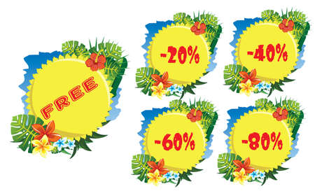 half price: discount label tropical flowers and sun