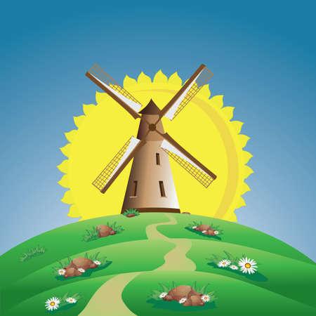 molino de viento en el campo de verano y el sol