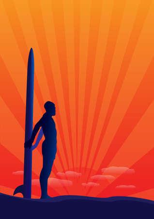 persona que practica surf azul