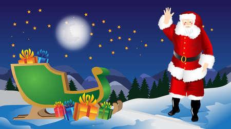 claus: xmas scene with santa claus