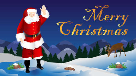 wishes for Christmas scene with santa claus Illustration