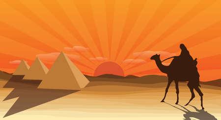 desert with pyramid Illustration