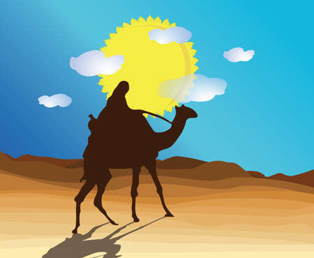 desert with camel and Bedouin Illustration