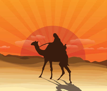 sand dunes: desert with camel and Bedouin Illustration