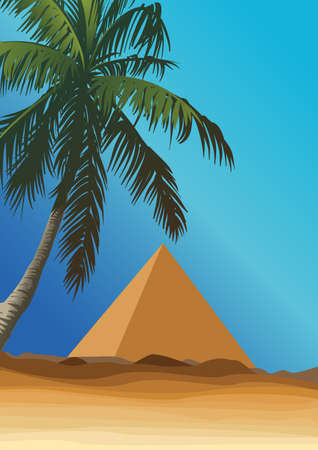desert with pyramid Illustration