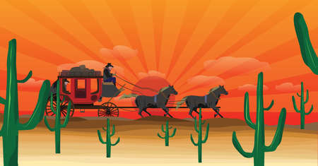 Western scene with stagecoach wagon