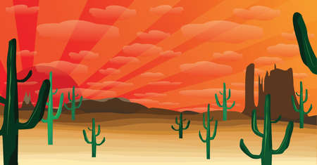 western desert at sunset Illustration