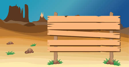 signboard at the western desert Illustration