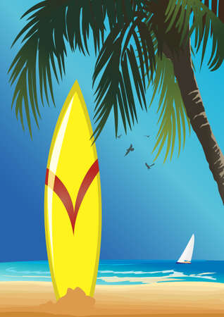 surf on tropical beach Illustration
