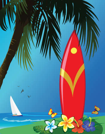 red surf at the tropical beach Illustration